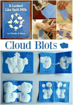 We love It Looked Like Spilt Milk. Children's literature is so fun to build on. This It Looked Like Spilt Milk activity has a fun process and pretty product Preschool Lessons, Preschool Crafts, Preschool Boards, Preschool Art Projects, Daycare Crafts, Art For Kids, Crafts For Kids, Preschool Weather, Cloud Craft