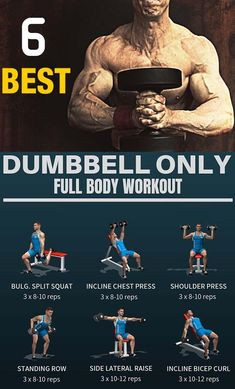 You only have dumbbells to do workout at gym? Don't worry I compile best full body workout with dumbbells only. You only have dumbbells to do workout at gym? Don't worry I compile best full body workout with dumbbells only. Dumbbell Workout Program, Workout Hiit, Best Dumbbell Exercises, Full Body Dumbbell Workout, Aerobics Workout, Workout Programs, Workout Exercises, Workout With Dumbbells, Workout Men