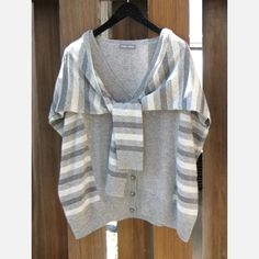 2-Way Cardi Vest Stripe in Gray by Fred and Sibel