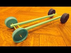 Rubber Band Powered Car 4 toothpicks 2 Straws 4 Bottle Caps - YouTube
