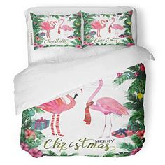 SanChic Duvet Cover Set Green Christmas Tropical Watercolor Palm Tree Flamingo Red Decorative Bedding Set with Pillow Case Twin Size -- Check out this great product. (This is an affiliate link)