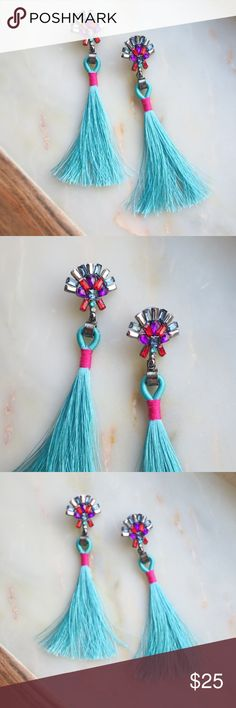 Rhinestone Tassel Drop Earrings Beautiful Bright Rhinestone Tassel Drop Earrings  Turquoise and Pink,  with purple, red, blue and white rhinestones!  Hypoallergenic Nickel and Lead Free Alloys  4.13 inches long rhinestone stud - 1 inch wide  Perfect flair to any outfit, for any occasion!  NWOT Boutique direct from makers  *ALL PHOTOS ARE MINE, OF THE ACTUAL PRODUCT* Jewelry Earrings