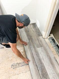 How To Install Luxury Vinyl Plank Flooring - Bower Power - Kitchen remodel - Vinal Plank Flooring, Installing Vinyl Plank Flooring, Wood Laminate Flooring, Basement Flooring, Diy Flooring, Bedroom Flooring, Kitchen Flooring, Flooring Ideas, Hardwood Floors