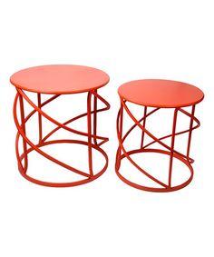 Look what I found on #zulily! Orange Round Accent Table Set #zulilyfinds