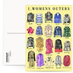 tipos de abrigos para mujeres - Fashionary X Vita Yang Postcard Book | Fashionary