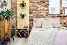 Aranżacja wykonana za pomocą cegły BYDGOSKIEJ Industrial Chic Style, Industrial Bedroom, Bedroom Bed, Bedroom Decor, Niche Design, Interior Decorating Styles, Oriental Design, Pink Bedding, Double Beds