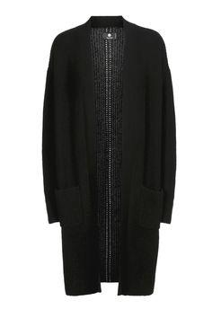Elegant lang sort cashmere cardigan fra danske Pure Cashmere