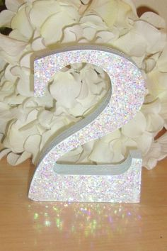 Self Standing Glitter Table Numbers Wooden.