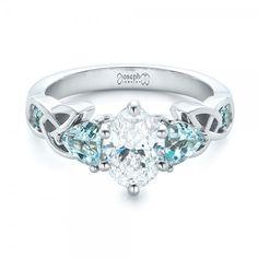 Custom Irish Celtic Knot Marquise Diamond and Blue Pear Topaz Engagement Ring #JosephJewelry Seattle Bellevue