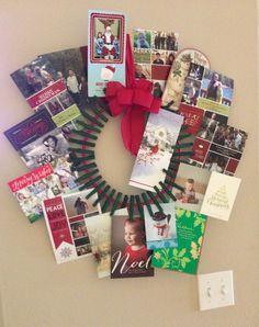 Cloths pin wreath for Christmas cards