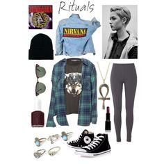 Grunge girl : nirvana / plaid / black / converse / beanie