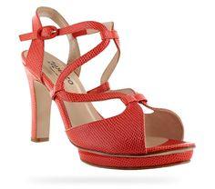 Sandale à talon Vega Rouge chéri Effet lézard