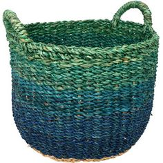 Greens+and+blues+gradually+blend+together+in+this+handy+handcrafted+basket+make+from+local+Bangladeshi+hogla+grass.+