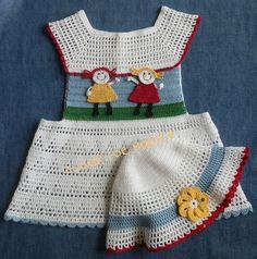 Baby Girl Crochet Pattern Dress and Sun Hat by SugarToeBabies