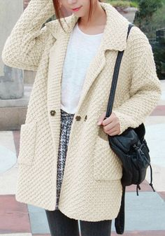 Oversized Beige Sweater Cardigan - Open Front Cardigan