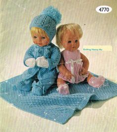 """Dolls clothes knitting pattern.12-14-16"""" doll. Baby Born/Anabelle.Vintage copy. PDF instant download."""
