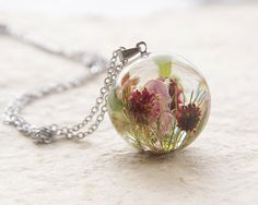 unusual resin | Real Flowers Necklace - resin orb jewelry - Unique orb necklace