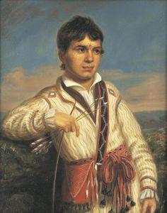 "MISTIPPEE, YOHOLO-MICCO'S SON  Charles Bird King (1785 – 1862)  1825  Washington, District of Columbia  Oil on canvas  HOA: 17 ½"", WOA: 14 ¼"""