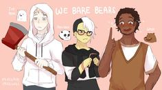 We Bare Bears by Masaomicchi Old Cartoon Shows, Cartoon As Anime, Cartoon Kids, Cartoon Characters As Humans, Cute Characters, Bear Character, Character Design, We Bare Bears Human, Happy Tree Friends Flippy