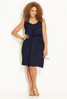 Ruffled Knit Dress #plus #size