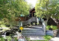 Entrance, patio, stairs,  eco geodesic dome, water cascade, stream flow, house for sale, 9121 CR 23 Brainerd MN 56401 Patio Stairs, Geodesic Dome Homes, Dome House, Small Ponds, Safe Haven, Wind Power, Water Conservation, Ceiling Height, Solar Panels