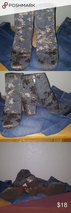 Booties grey fabric with cherry blossom pattern Wore 3 times very comfy 2 and half inch chunky heel with side zippers, wore with boyfriend jeans and regular with grey sweater you could wear these with any t shirt plain or dress up took them on a trip just moving some things I don't wear out the grey fabric lavender and gold silk like thread of cherry blossoms very delicate Zigi Soho Shoes Ankle Boots & Booties