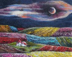 Felt picture. Beautiful landscape.Pink sky, colorful houses and charming gardens. Amazing coast will give you a sense of peace. Characteristic of this artwork is extraordinary warmth and texture. The picture made from felt using the wet felting method. For details lve added free machine and hand stitching. The felt goes right around the sides of the canvas. Ready to hang. Size: 35cm*48cm (13.77in*18.89in) My soul in my artworks to make you happy