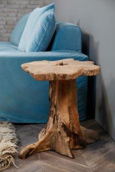 Bout de canapé/table basse tronc d'arbre - FLEUX