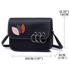 Women Metal Ring PU Leather Leaves Crossbody Bag Shoulder Bags is  Cute-NewChic Mobile Pu f0bce281b9169