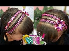 PEINADO INFANTIL/ DIADEMA ENCINTADO DE LAZOS DOS COLORES FÁCIL RAPIDO/ Peinados Rakel 45 - YouTube Hair Beads, Toddler Hair, Cute Hairstyles, Girl Fashion, Braids, Hair Styles, Makeup, Beauty, Youtube