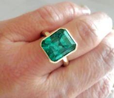 Wedding Rings Solitaire, Rose Gold Engagement Ring, Halo Rings, Solitaire Engagement, Diamond Rings, Emerald Jewelry, Emerald Gemstone, Genuine Emerald Rings, Natural Emerald Rings