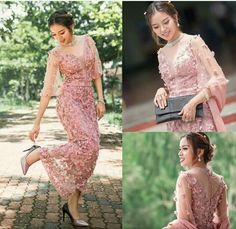 Kebaya Lace, Kebaya Dress, Dress Pesta, Dress Brukat, Batik Dress, The Dress, Dress Outfits, Myanmar Traditional Dress, Traditional Dresses