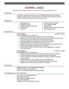 Full Time Nanny Resume Example Personal Amp Services Sample Resumes  Template Examples Livecareer  Nanny Resume