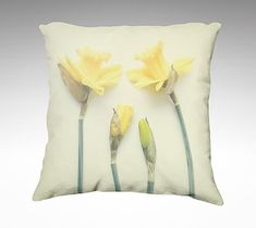 Velveteen Pillow Cover Springtime Daffodils by DebbraObertanecArt Floral Pillows, Soft Pillows, Throw Pillows, Airplane Art, Pastel Yellow, Decorative Pillow Covers, Daffodils, Accent Pieces, Hobby Lobby