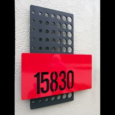 Halftone layered custom house numbers in powder coated aluminum Wayfinding Signage, Signage Design, Signage Board, Commercial Signs, Halftone Pattern, Environmental Graphic Design, Plate Design, Home Decor Signs, House Numbers