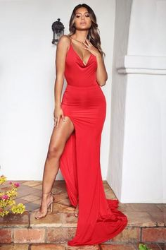 Hot Sale Spaghetti-Straps Mermaid Prom Dress Long Maxi Dress With Slit - Cocktail Dresses Affordable Prom Dresses, Prom Dresses Online, Elegant Dresses, Sexy Dresses, Dress Online, Maxi Dress Wedding, Red Wedding Dresses, Maxi Dress With Slit, Dress Long
