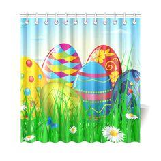 Happy Easter Eggs Butterfly Landscape Shower Curtain 69 Holiday Shower Curtains, Happy Easter, Easter Eggs, Butterfly, Landscape, Prints, House, Happy Easter Day, Scenery