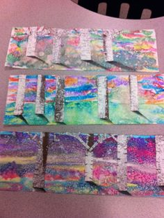 Watercolor Birch Trees, salting for snow -Drip, Drip, Splatter Splash, Art… Winter Art Lesson, Winter Art Projects, Art Lessons Elementary, Childrens Art