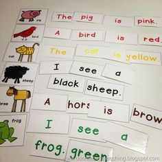 Doodle Bugs Teaching first grade rocks!: Back to School Pocket Chart Activities.I like how these sentences have all words in the same color; great way for students to work on colors as well as put together sentences until they made sense. Teaching First Grade, First Grade Reading, Teaching Reading, Guided Reading, Sight Word Sentences, Sight Words, Simple Sentences, Kindergarten Literacy, Early Literacy