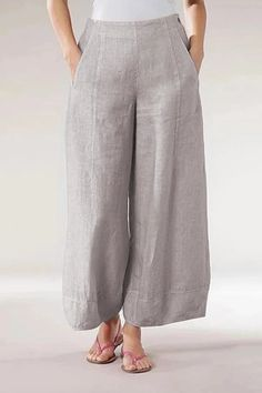 Style Casual Pattern Solid Detail Pockets,Zipper Length Long Material Polyester,Linen Season All season Occasion Daily life,Work Linen Pants Women, Pants For Women, Womens Linen Clothing, Linen Trousers, Traje Casual, Linen Tshirts, Half Sleeves, Wide Leg Pants, Casual Pants
