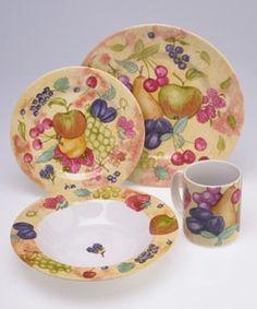 Dinnerware Set & 16 Piece 222 Fifth LYRIA TEAL Floral Paisley Dinnerware Set NIB ...
