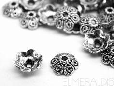 4 Perlkappen Metall versilbert 11,5 mm