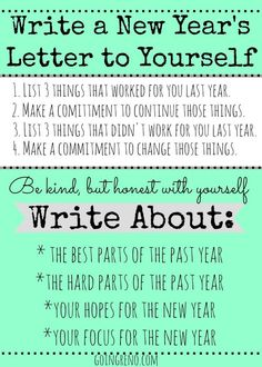 Start a New Year's Tradition of writing a letter to yourself, to open the fo. - Random Up New Year Goals, New Year New Me, Journal Prompts, Writing Prompts, Planners, Just In Case, Just For You, New Years Traditions, Letter To Yourself