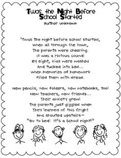 Night Before School Started poem.  Could hand out at open house...