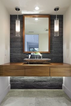 Contemporary Powder Room with Wood counters, Powder room, Pental - rustic cladding - silver quartzite, Vessel sink, Flush