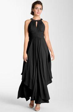 Long black chiffon halter dress