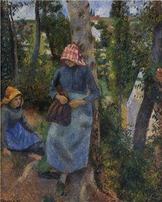 Art, Music et cetera — artist-pissarro: Two Young Peasants Chatting...