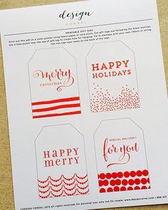 Christmas Gift Tags ©2013 designcorral.com #freeprintables #freechristmas #christmasprintable #printables #free