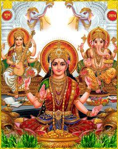 Lakshmi, Saraswati and Ganesha (Metal Frame) Saraswati Devi, Shiva Shakti, Shiva Linga, Diwali Pictures, God Pictures, Diwali Images, Beautiful Pictures, Ganesh Images, Ganesha Pictures
