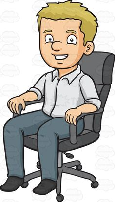 A Man Sitting In His Office Chair Man Sitting Cartoon Man Fabric Paint Designs